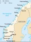 fast ganz unten im Süden liegt Oslo - auf einer Höhe mit der Südspitze Grönlands