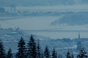 Blick auf die freigehaltene Fahrrinne im Oslofjord