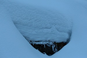 Die verschiedenen Schneeschichten sind gut zu erkennen. Das sind ca. 60 cm!