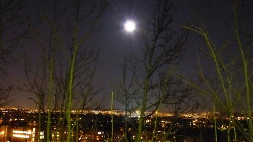 Und zum Abschluss: Oslo bei Vollmond-Nacht... auf dem Heimweg von der T-Bane-Station Montebello