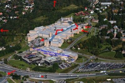 1: Stationszimmer2: Glasgang3: Ring 3 (alte Maut)4: Hubschrauberlandeplatz5: Vorplatz mit Haupteingang