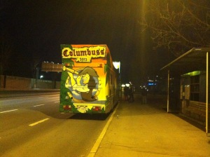 """ein """"Russauto"""" = bunt bemalter teurer Disko Bus"""