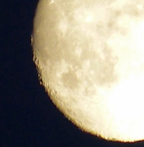 Detailaufnahme des Vollmondes: Die Krater sind sehr schön zu erkennen.