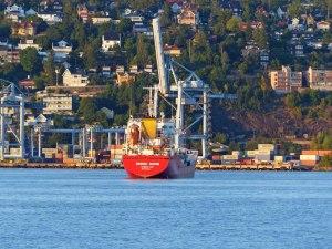 Der Güterhafen von Oslo ist sehr klein. Die meisten Schiffe werden am Beginn des Fjords entladen.