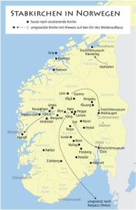 Alle noch vorhandenen Stabkirchen in Norwegen