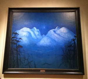 Natuerlich gibt es auch noch ander Gemælde in der Nationalgalerie: Winternacht in Rondane, Harald Solberg 1911-14