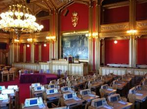großer Sitzungssaal im Stortinget