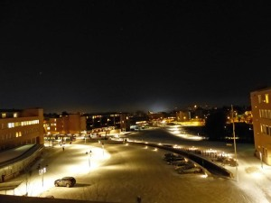 Blick vom Rikshospital auf die Schneelandschaft