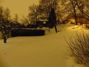 Mein verschneiter Garten bei Nacht (ok, der vor meiner Wohnung, nutzen kann ich den vordersten Teil)