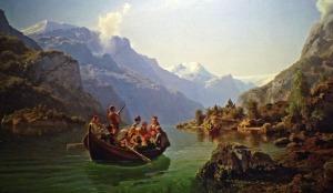 """Berühmte Norwegische Gemälde: """"Die Brautfahrt"""" (Hochzeitstour über den Fjord)"""