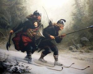 """Berühmte Norwegische Gemälde: """"Birkebeiner"""" (Frühe Darstellung von Langläufern die den Königssohn vor einem Krieg in Sicherheit bringen)"""